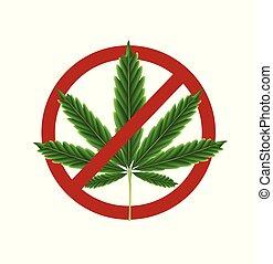 interdit, marijuana, signe