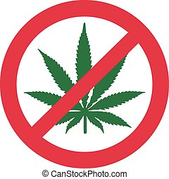 interdit, non, drogue, marijuana.