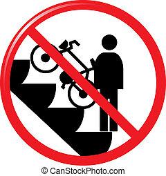 interdit, vélo, escalato