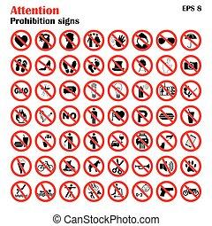 interdit, vecteur, collection, signe, cercle, isolé, icônes, ensemble, prohibition, illustration, rouges, white.
