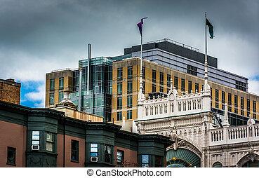 interessant, architectuur, in, boston, massachusetts.