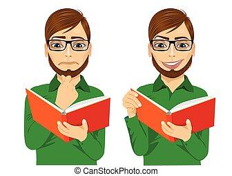 interessante, leitura, focalizado, livro, homem