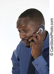 interessato, uomo affari, su, cellphone, 2
