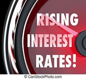 interesse, darlehen, vergrößern, steigend, wörter, raten, fina, messgerät, geschwindigkeitsmesser