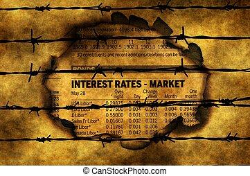 interesse kurs, -, marked, imod, barbwire