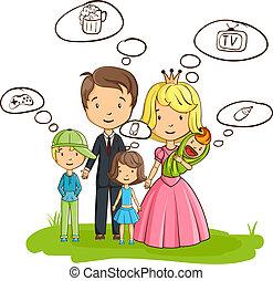 interesser, blive, omkring, everyone, tænkning, familie, seems, cartoon, deres, egen, ærgr