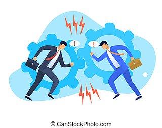 interessi passivi, due, conflitto, uomini affari, visualizzazione