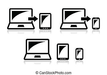 interessiert, design, -, tablette, laptop