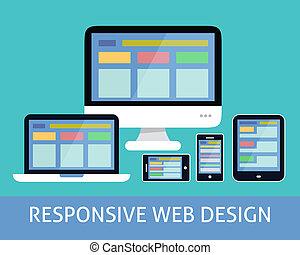 interessiert, web, begriff, design