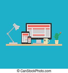 interessiert, web, concept., vektor, design
