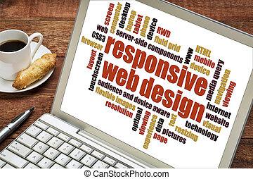 interessiert, web, wort, design, wolke