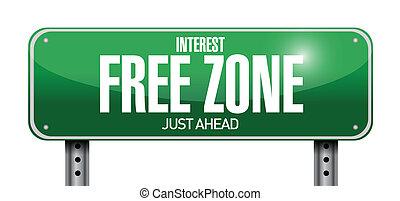 interest free zone road sign illustration design over a...