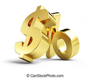 interest, gold dollar sign, on a white background 3d illustrations