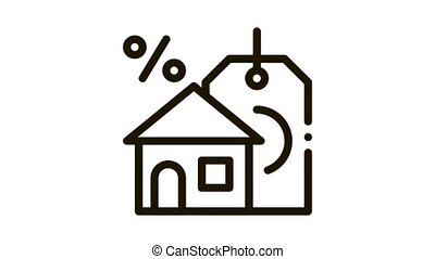 interest home purchase Icon Animation. black interest home purchase animated icon on white background
