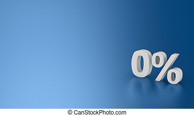 Symbol 0% on the blue background, 3d computer graphic