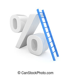 Interest rate growth - Blue ladder on the high percentage...