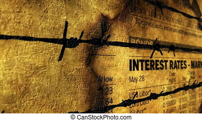 Interest rates against barbwire