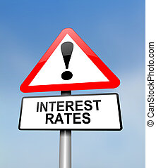 Illustration depicting a red and white triangular warning sign with an interest rates concept. Blurred sky background.