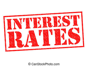 INTEREST RATES red Rubber Stamp over a white background.