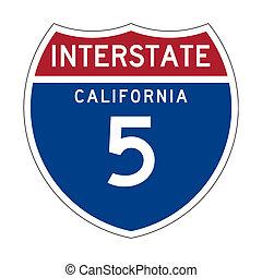 interestatal, california, señal de autopista