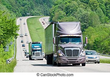 interestatal, pesado, carretera, tráfico