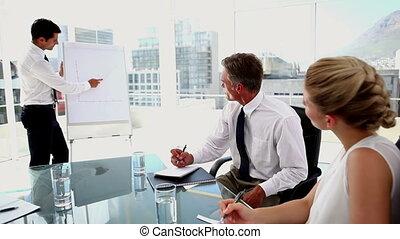 Interested business people listenin