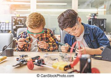 Interested children at light workshop