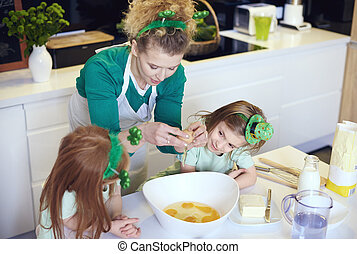 Interested children learning how to cook