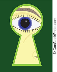 Eye - Interested Eye looking in Keyhole - abstract...
