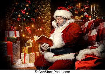 interested in reading - Santa Claus sat down to rest by the...