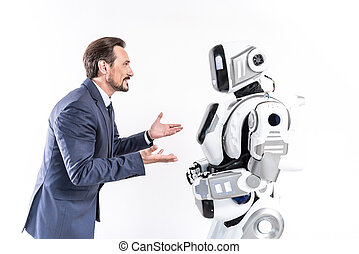Interested manager speaking with cyborg employee - Let us...