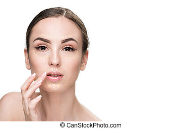 Interested young woman doing make-up - Confident lady has...