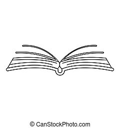 Interesting book icon, outline style.