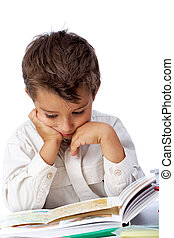 Interesting book - Vertical image of interested schoolkid ...