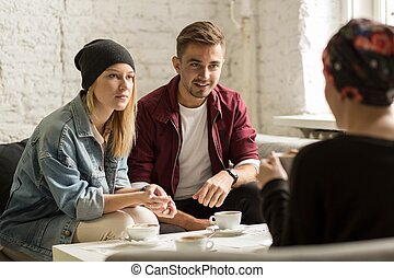 Interesting conversation between young people - Group of ...