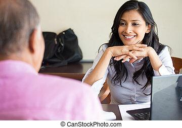 Interesting conversation - Closeup portrait, appointment ...
