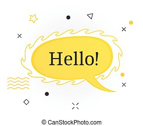 Interesting facts bubble symbol. Banner or sicker with word hello. Social media faq banner with speech bubble. Vector illustration on white background