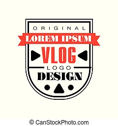 Interesting logo template for internet vlog. Creative vector emblem with red ribbon and black play buttons. Web television. Video blogging concept