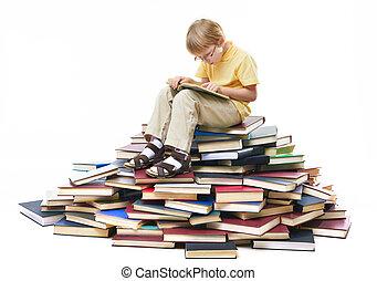 Interesting story - Portrait of diligent pupil sitting on...