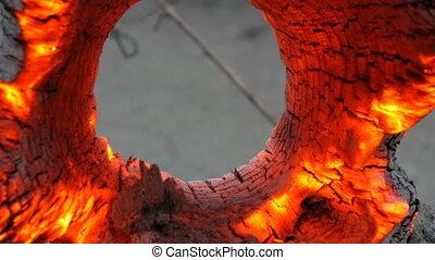 Interesting unusual smoldering and burning old tree stump,...