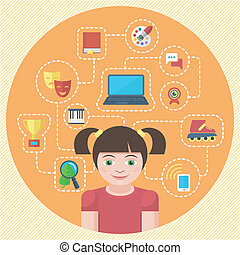 Conceptual illustration of a girl with different symbols of her interests
