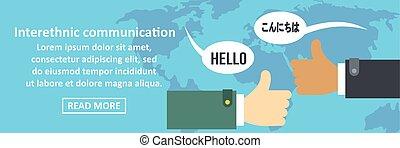 interethnic, コミュニケーション, 旗, 横, 概念