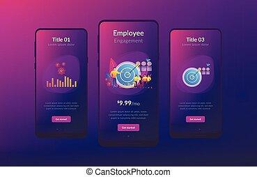 interfaccia, marketing, app, interno, template.