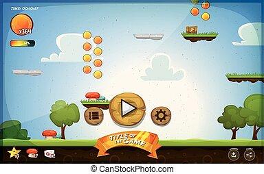interfaccia, piattaforma, gioco, utente, ta