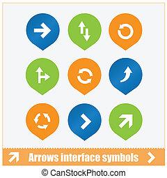 interfaccia, simboli, set, frecce