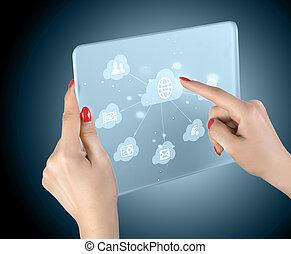 interfaccia, touchscreen, nuvola, calcolare