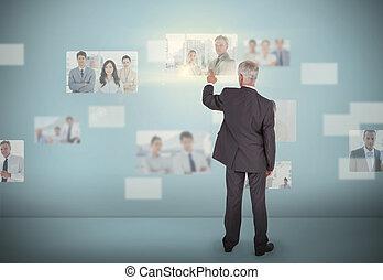 interface, élégant, futuriste, choix, homme affaires