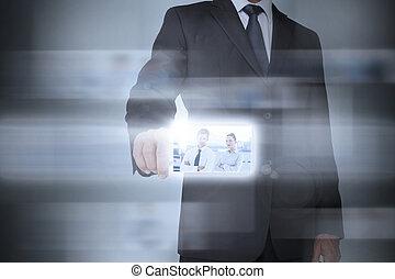 interface, élégant, utilisation, futuriste, homme affaires