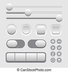 interface, éléments, ensemble, lumière, utilisateur, arrière...