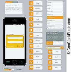 interface, éléments, utilisation, plat, conception
